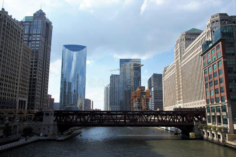 Brug de Van de binnenstad van de de Rivierschakelaar van Chicago Illinois stock fotografie