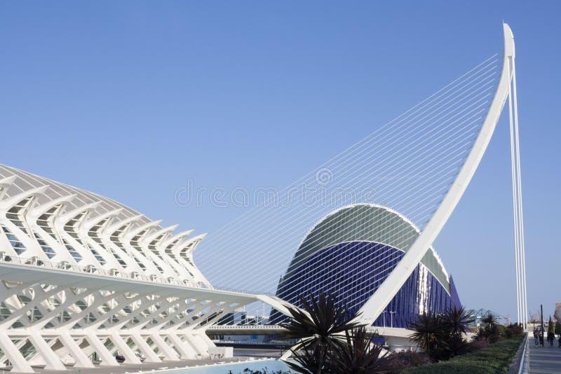 Brug die in de Stad van Kunsten van Valencia wordt gevestigd royalty-vrije stock foto's
