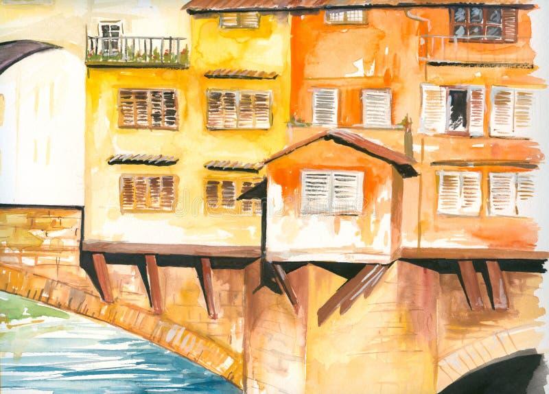 Brug in Florence stock illustratie