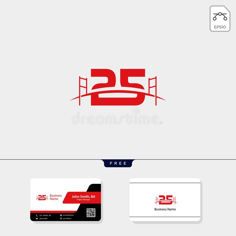 25 Brug het malplaatje vectorillustratie van het de bouwembleem, adreskaartjeontwerp royalty-vrije illustratie
