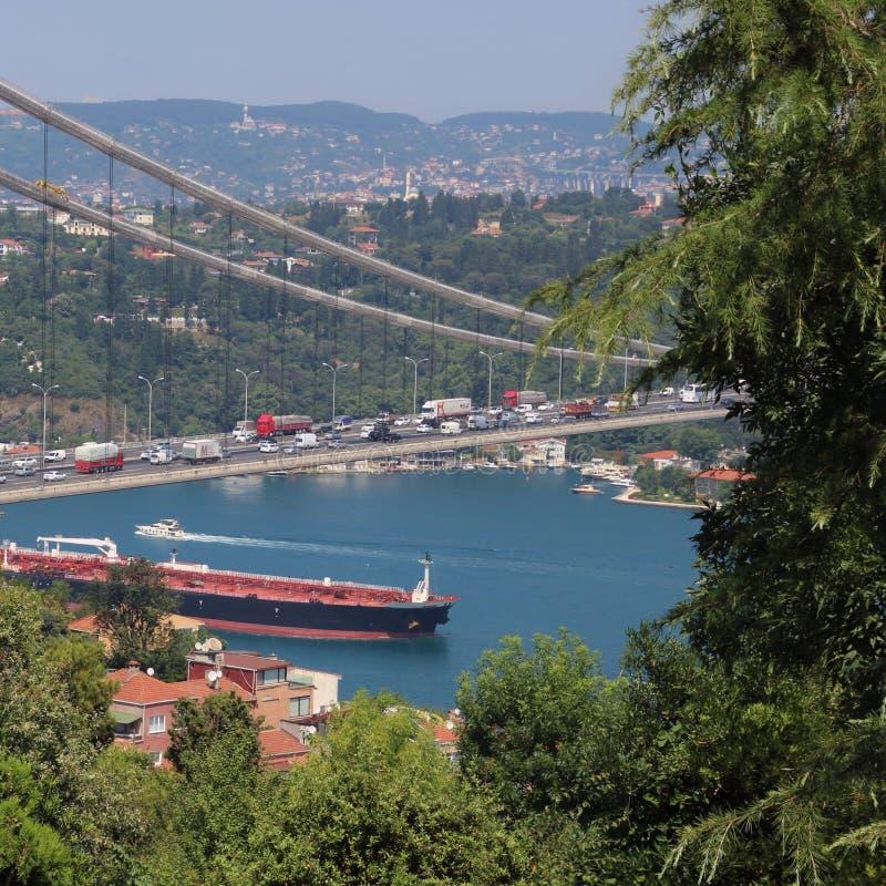 Brug in Istanboel Turkije stock foto's