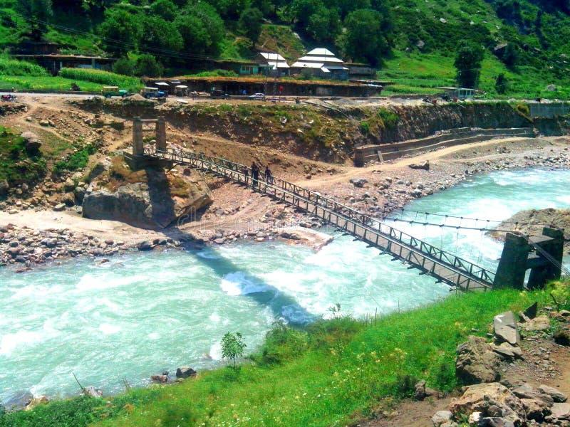 brug in kaghan Pakistan royalty-vrije stock afbeelding