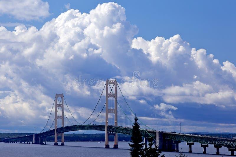 Brug met gezwollen wolken in de achtergrond royalty-vrije stock foto's