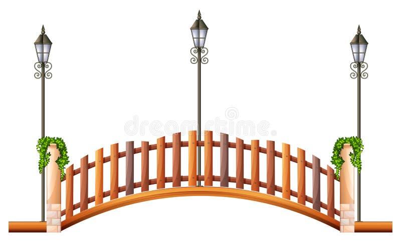 Brug met houten omheining en lamp stock illustratie