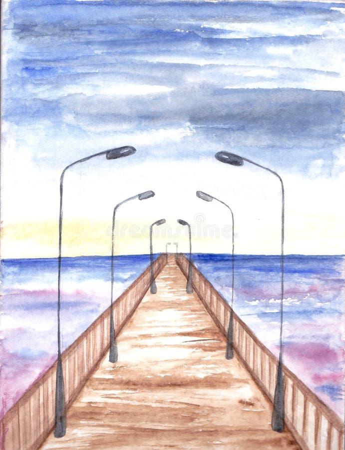 Brug met lantaarns Het Schilderen van de waterverf Overzees landschap Hand getrokken Illustratie van zonsondergang Abstracte pren royalty-vrije illustratie