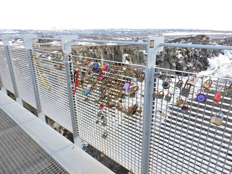 Brug met liefdehangsloten, IJsland royalty-vrije stock foto