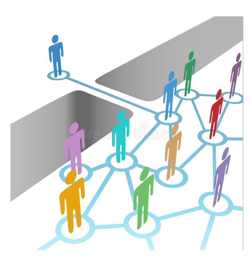 Brug om zich bij het diverse lidmaatschap van de netwerkfusie aan te sluiten vector illustratie