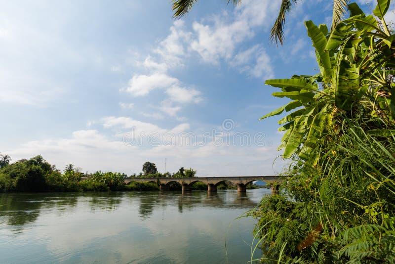 Brug op Don Khon Laos royalty-vrije stock fotografie