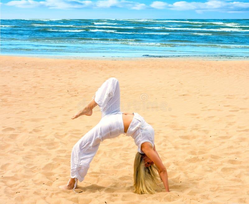 Brug op een strand stock afbeeldingen