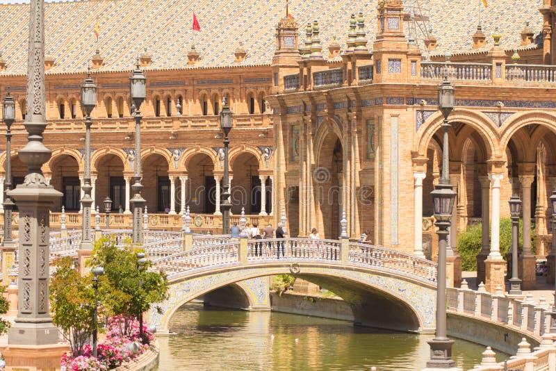 Brug op plaza DE espana Sevilla royalty-vrije stock foto's