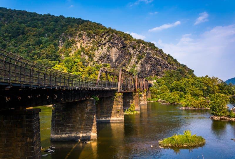Brug over de Potomac Rivier en de mening van de Hoogten van Maryland royalty-vrije stock fotografie