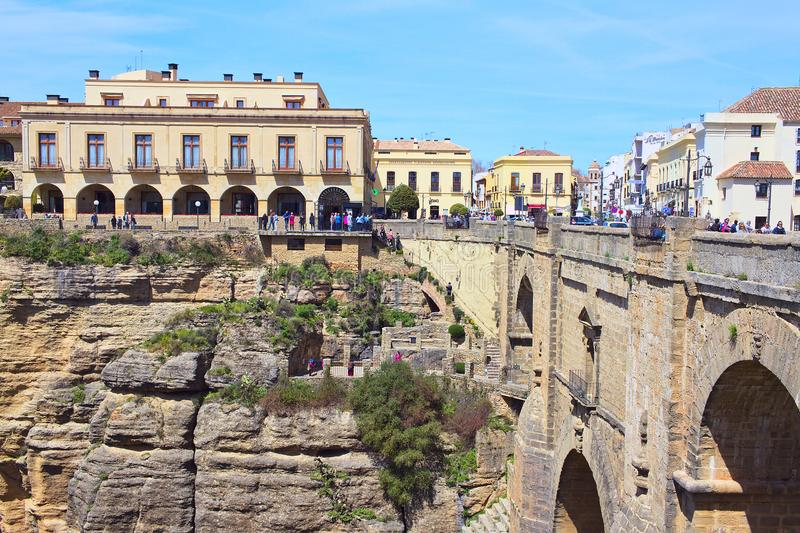 Brug over de rivier Guadalevin ronda andalusia royalty-vrije stock foto's