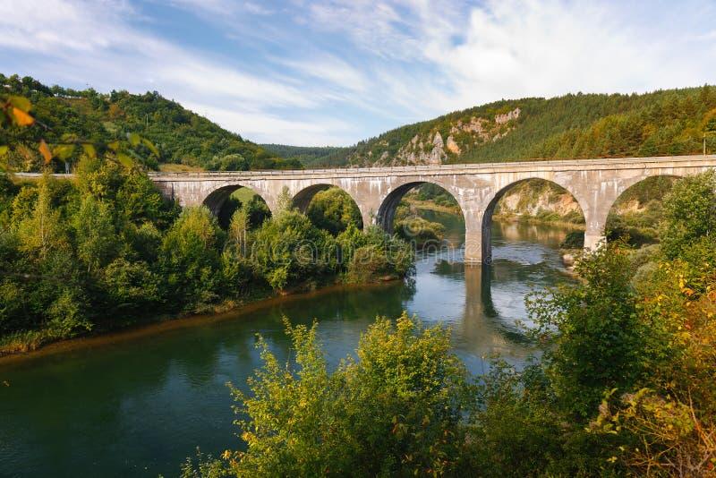 Brug over de Uvac rivier in het ochtendlicht, Servië stock foto's