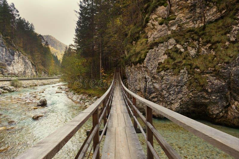 Brug over een bergstroom De herfstmening van Slovenië, het stemmen royalty-vrije stock afbeelding