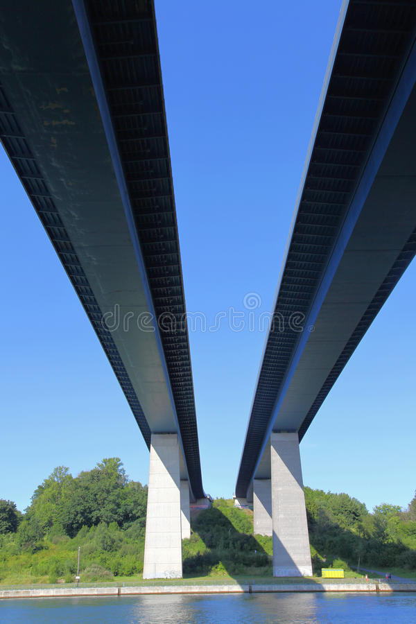 Brug over het Kanaal van Kiel royalty-vrije stock foto's