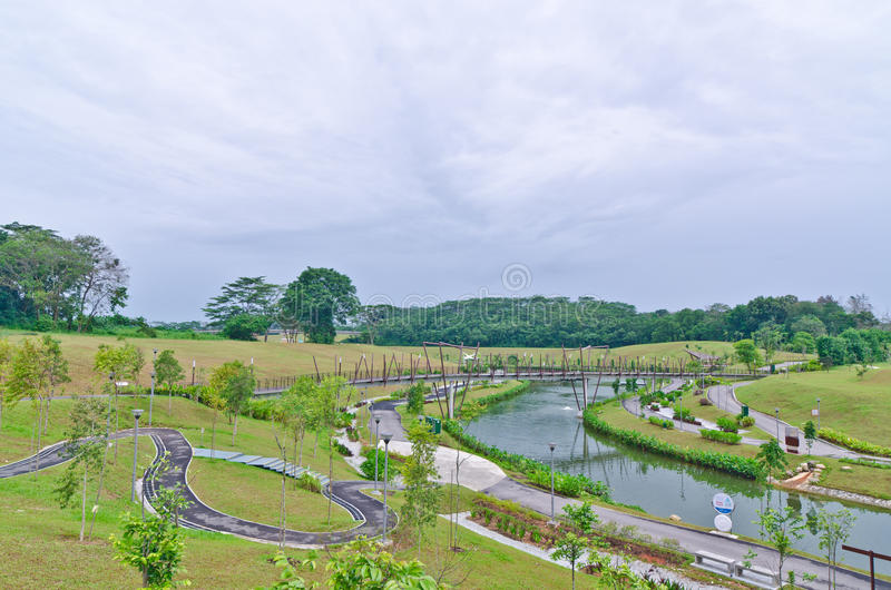 Brug over Punggol Waterweg, Singapore stock afbeelding