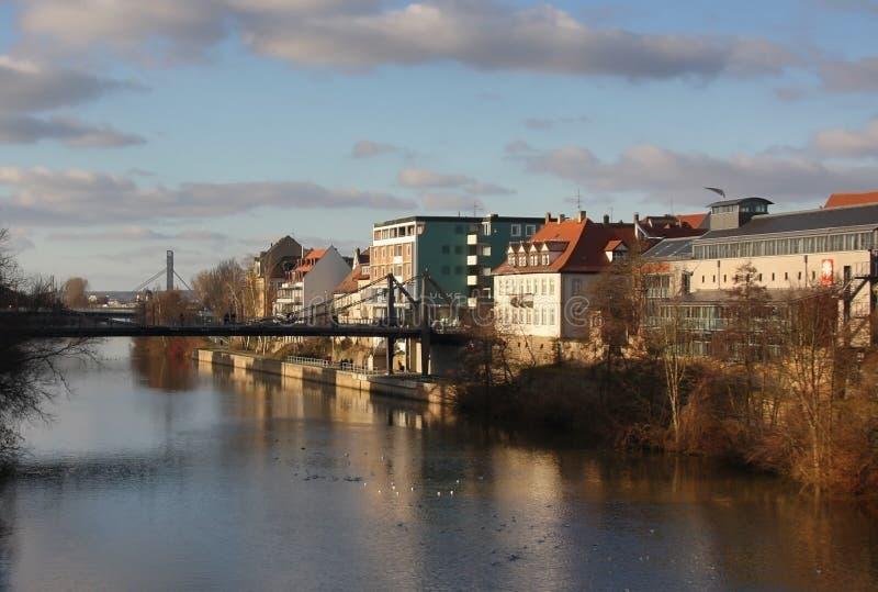 Brug over rivier Hamburg, Duitsland 15 januari 2012 royalty-vrije stock foto's