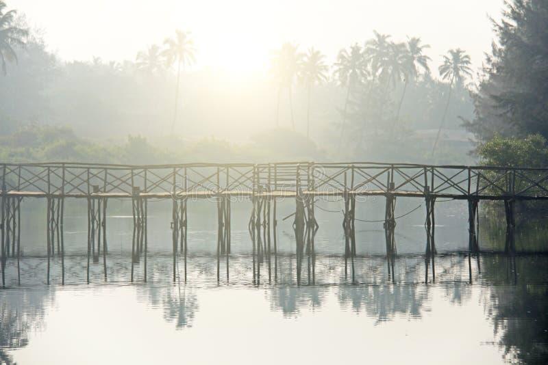 Brug over rivier Tropisch Landschap De mist van de ochtend Mooi Sc royalty-vrije stock afbeeldingen
