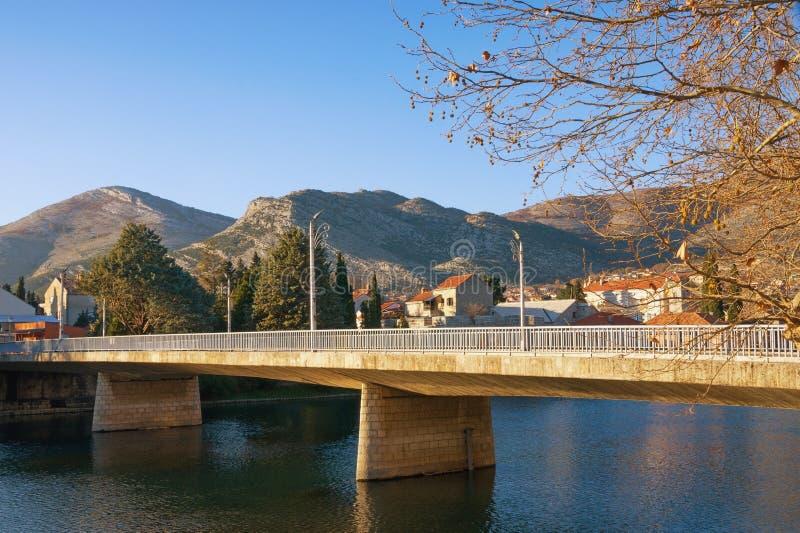 Brug over rivier Weergeven van Ivo Andric Bridge over Trebisnjica-rivier Trebinjestad, Bosnië-Herzegovina stock fotografie