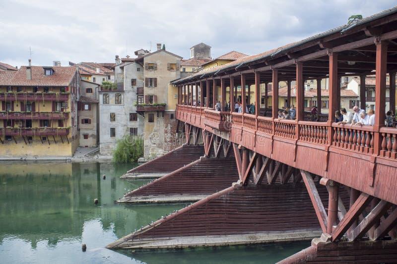 """Brug van Bassano, """"Ponte-degli Alpini stock fotografie"""