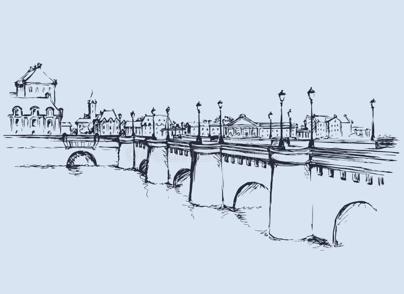 Brug Vector tekening royalty-vrije illustratie
