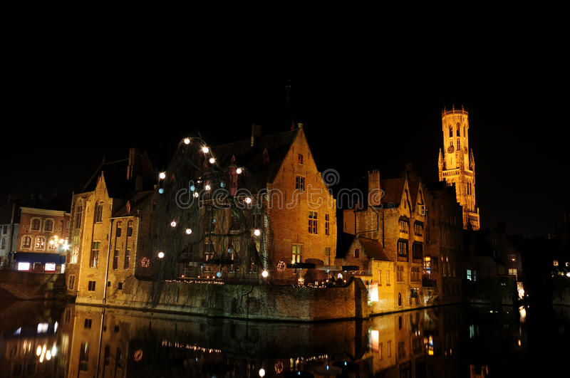 Download Bruge Canal & The Belfry At Night Stock Photo - Image: 12525624