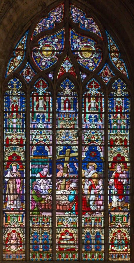 Bruges - śmierć st Helen na windowpane w St Salvator katedrze (Salvatorskerk) zdjęcie royalty free