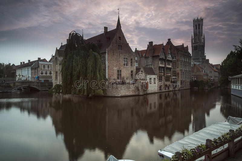 Bruges Belfry in the Evening stock photography