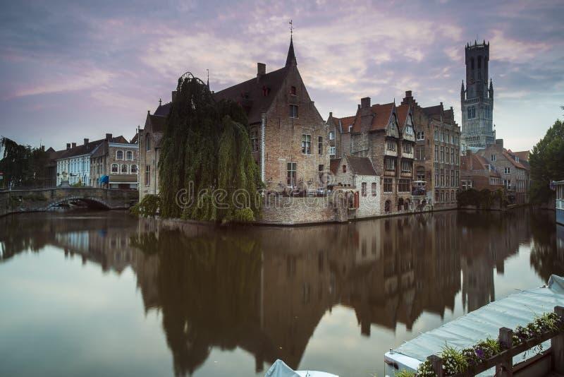 Bruges Belfry in the Evening stock image