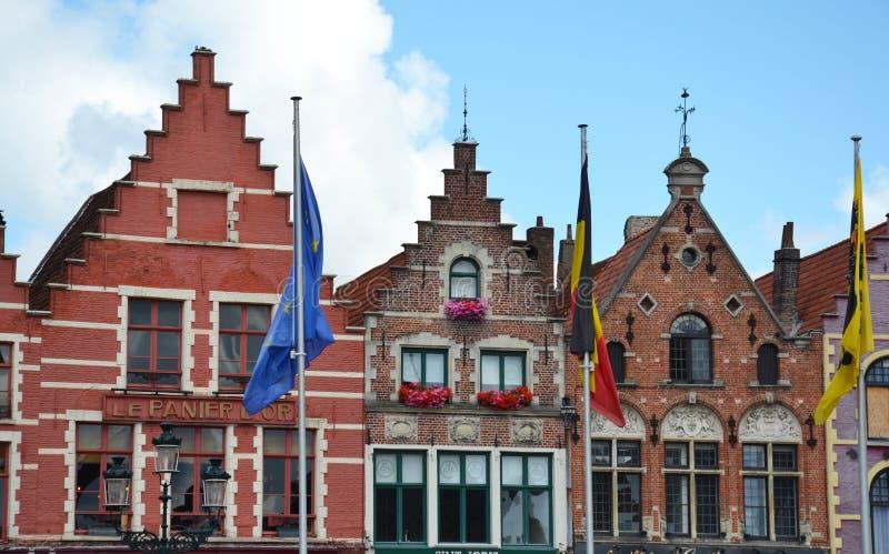 Grote Markt square buildings in medieval city Brugge, Flanders, Belgium. stock photo