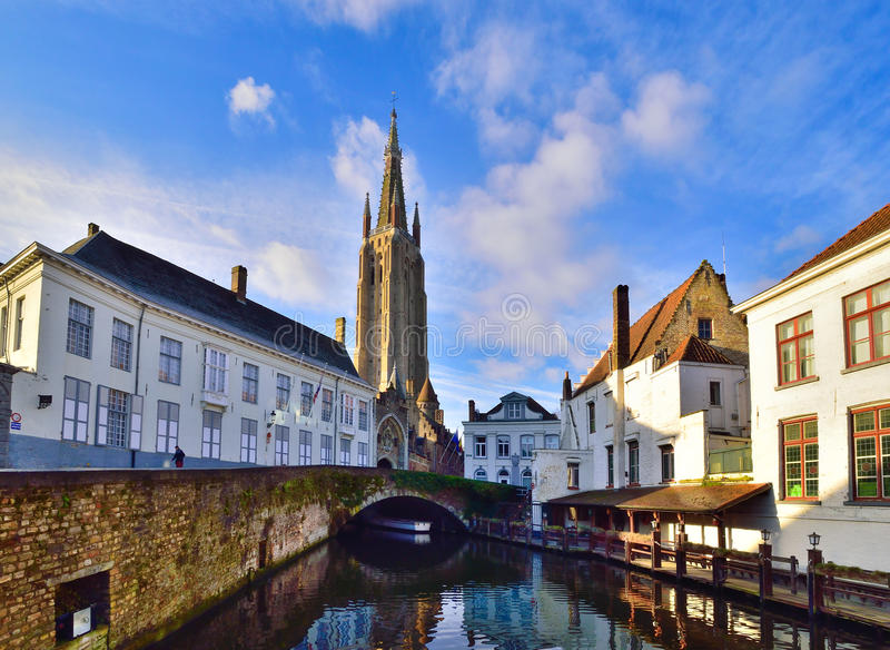 Bruges, Belgium. Beautiful Brugge architecture landmark in daytime, around the canal royalty free stock image