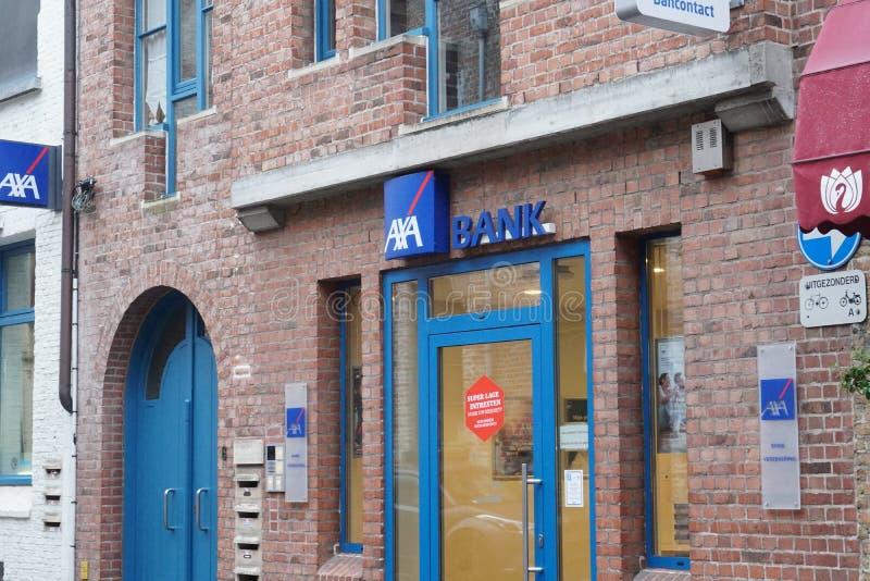 AXA Bank Belgien branch. Bruges, Belgium - December 23, 2018: AXA Bank Belgien branch exterior. AXA Bank Belgium, located in Brussels, is AXA Group's stock photo