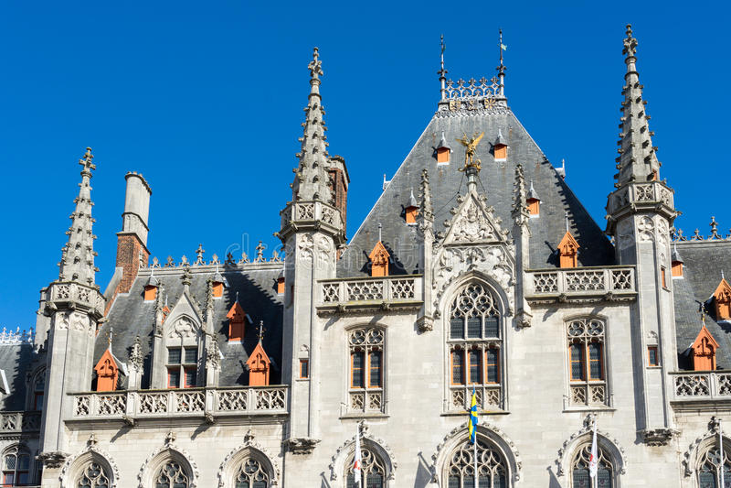 BRUGES, BELGIUM/ EUROPE - SEPTEMBER 25: City Hall in Market Square in Bruges West Flanders Belgium on September 25, 2015 stock photography