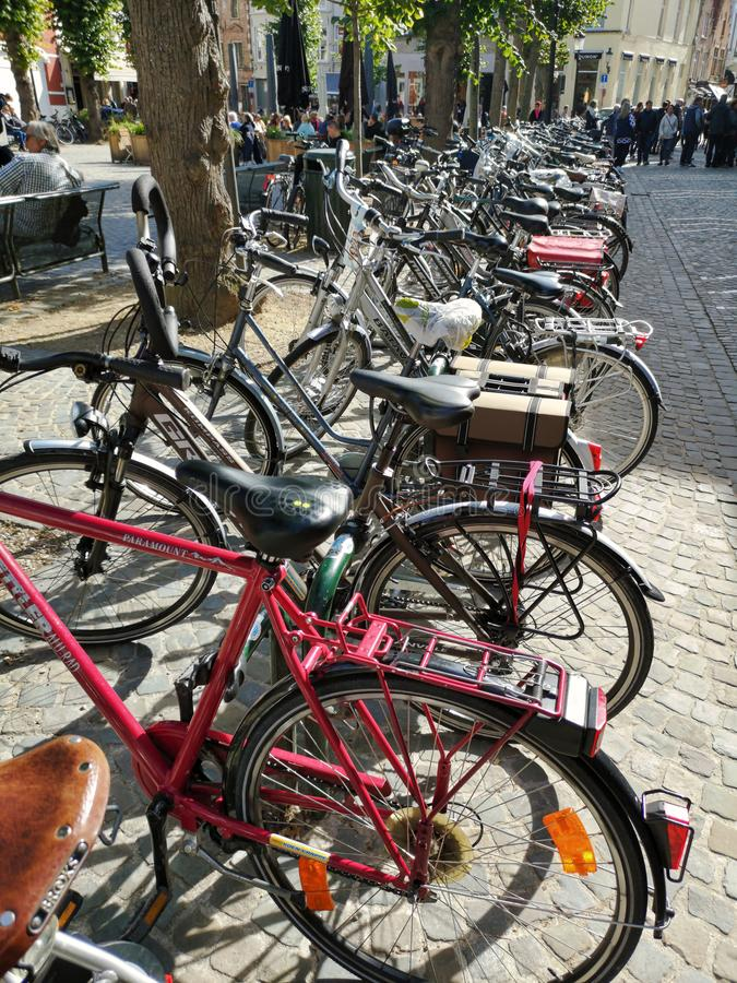 Bruges, Belgium, Europe; September, 29th, 2018, popularity of bicycles as a form of transport. Cycling is a popular and important mode of transport within the stock photos