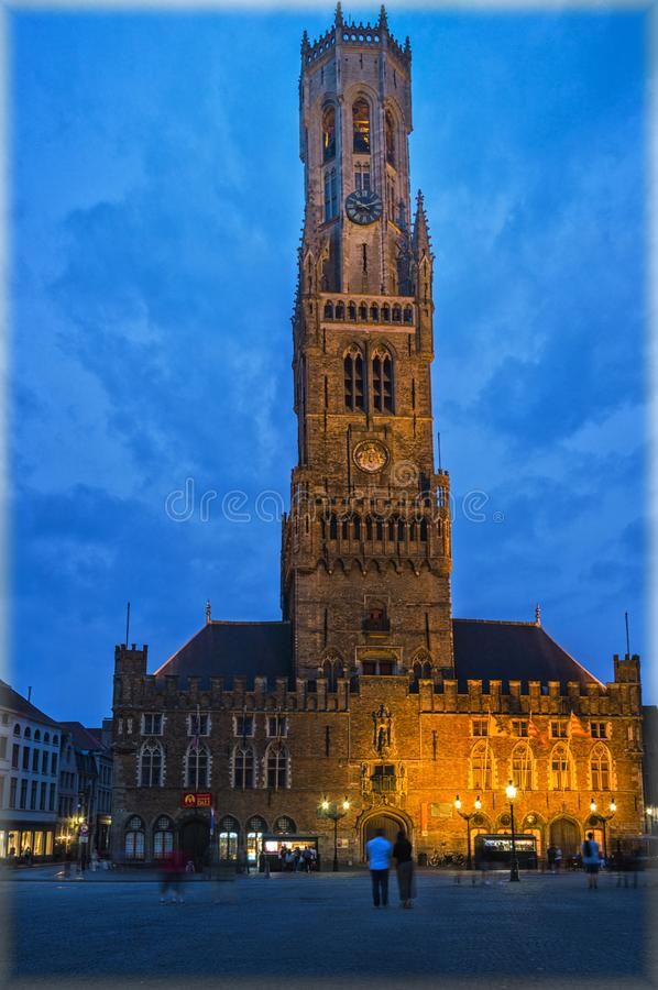 Bruges in the evening stock photos