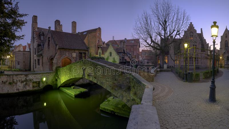 Night time shot of Bonifacius bridge in Bruges, Belgium royalty free stock photo