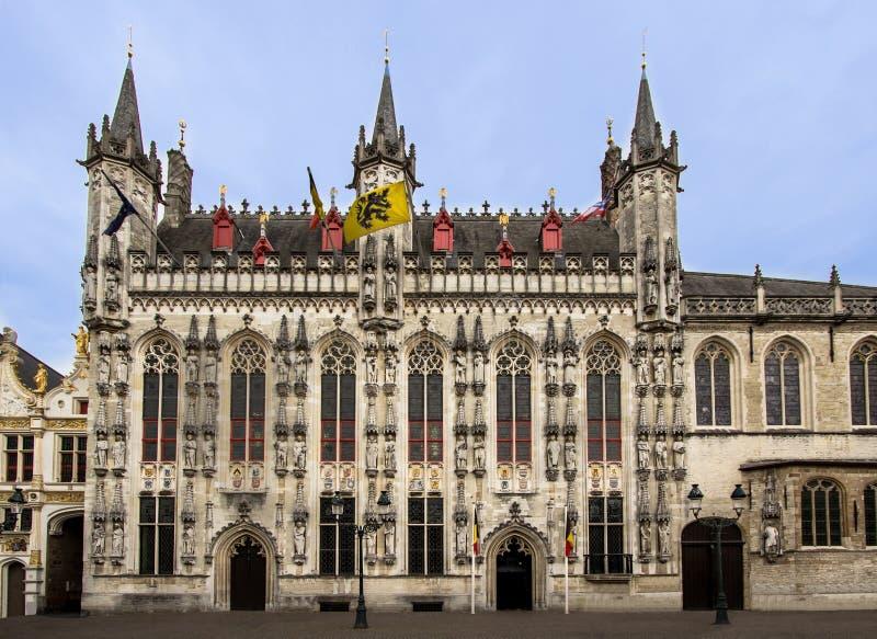 Bruges, Belgium. Provinciaal Hof. Built in 1284 neogothical building on the Grote Markt place in Bruges, Belgium stock photos