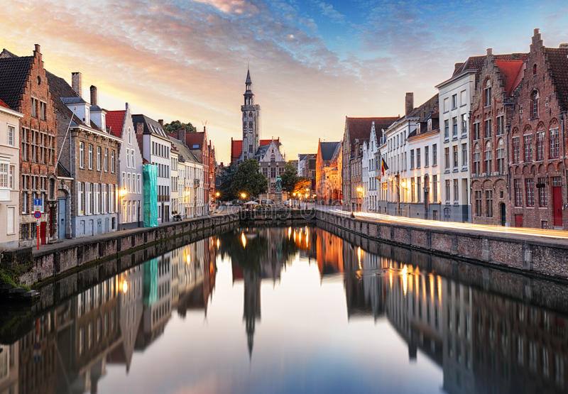 Bruges, Belgium - Scenic cityscape with canal Spiegelrei and Jan stock photography