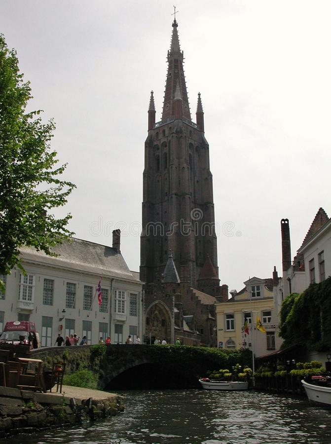 Bruges - Bell tower of Our Lady stock images