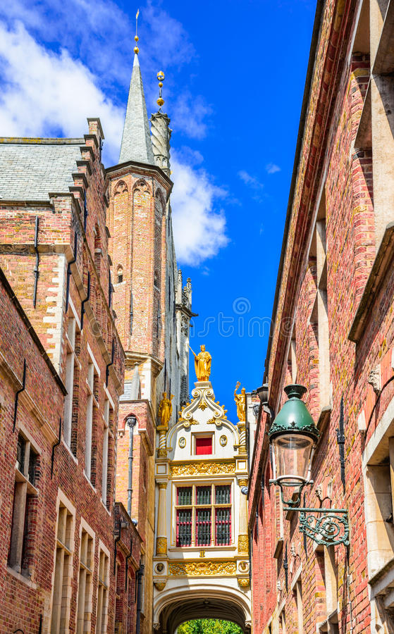 Bruges, Blind Donkey Alley, Belgium stock image