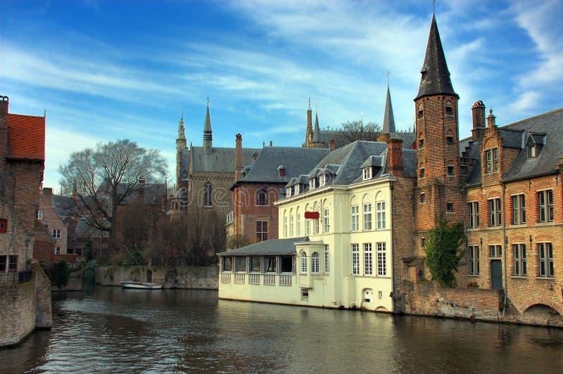 Bruges, Bruges, o canal. imagem de stock