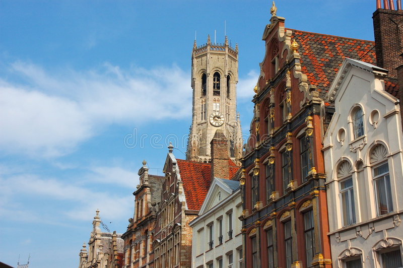 Bruges, brugge. A view of one of the oldest cities in Belgium, Brugge, Bruges, cathedral, church in background royalty free stock photo