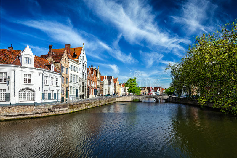 Bruges Brugge, Belgium. Canal, bridge and row of old houses, Bruges (Brugge), Belgium royalty free stock photography