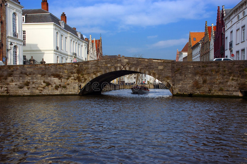 Bruges, brugge view from the canal. royalty free stock photography