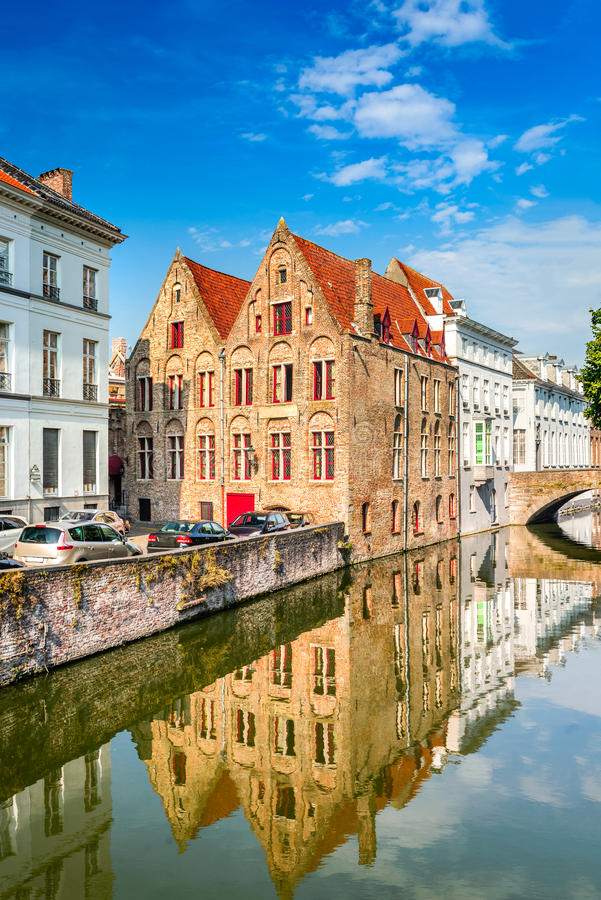 Bruges canal, Flanders, Belgium. Bruges, Belgium. Scenery with water canal in Brugge, `Venice of the North`, cityscape of Flanders, Belgium royalty free stock images