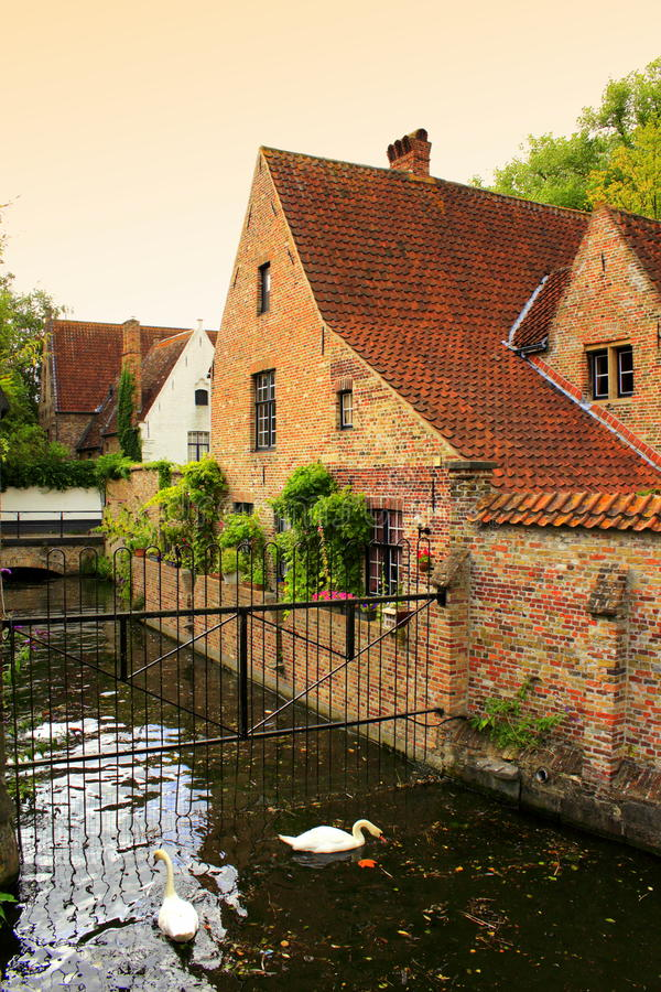 Bruges canal view Belgium stock photo