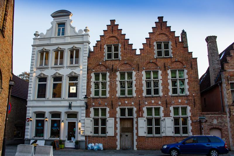 Buildings in Bruges stock image