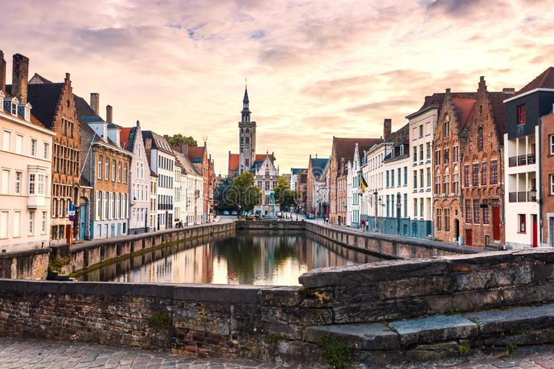 Bruges cityscape. Old Brugge town famous destination in Europe. stock photography