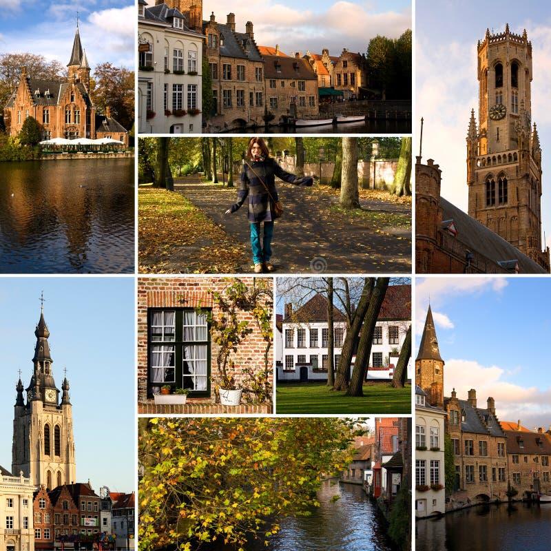 Bruges - collage di turismo fotografia stock
