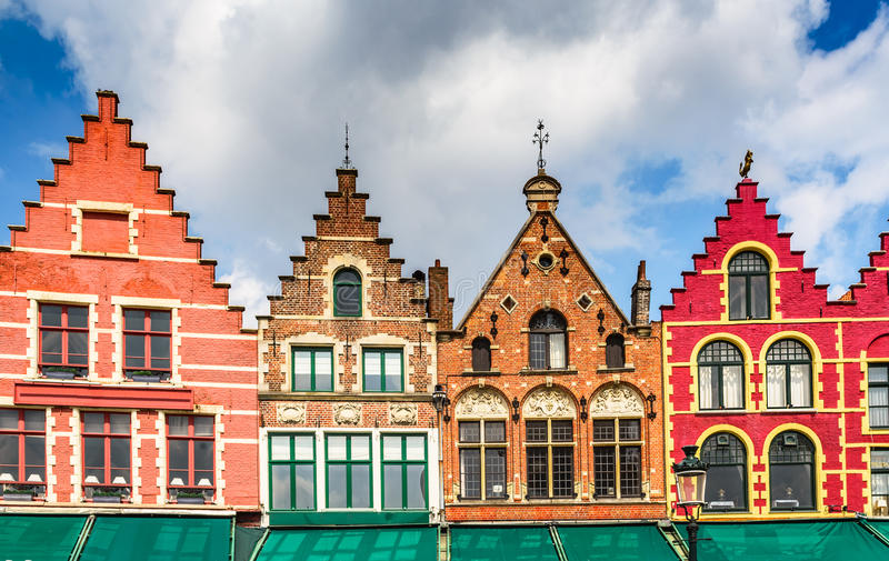 Bruges colorful houses in Markt, Belgium royalty free stock images